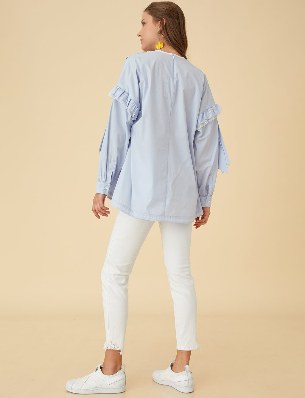 Ruffled Cotton Blouse B9-10126 Blue