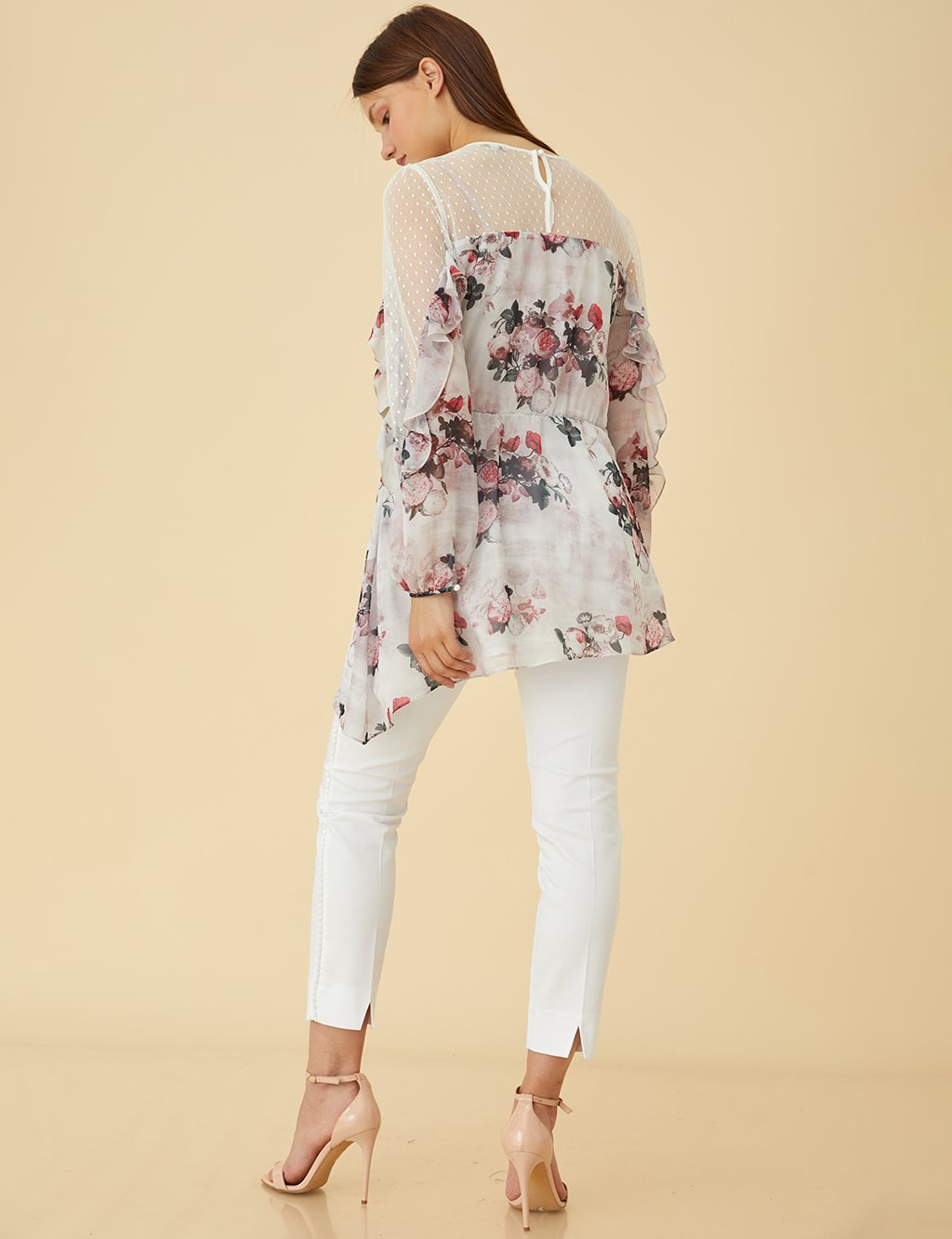 Floral Blouse With Lace Details Powder B9 10142