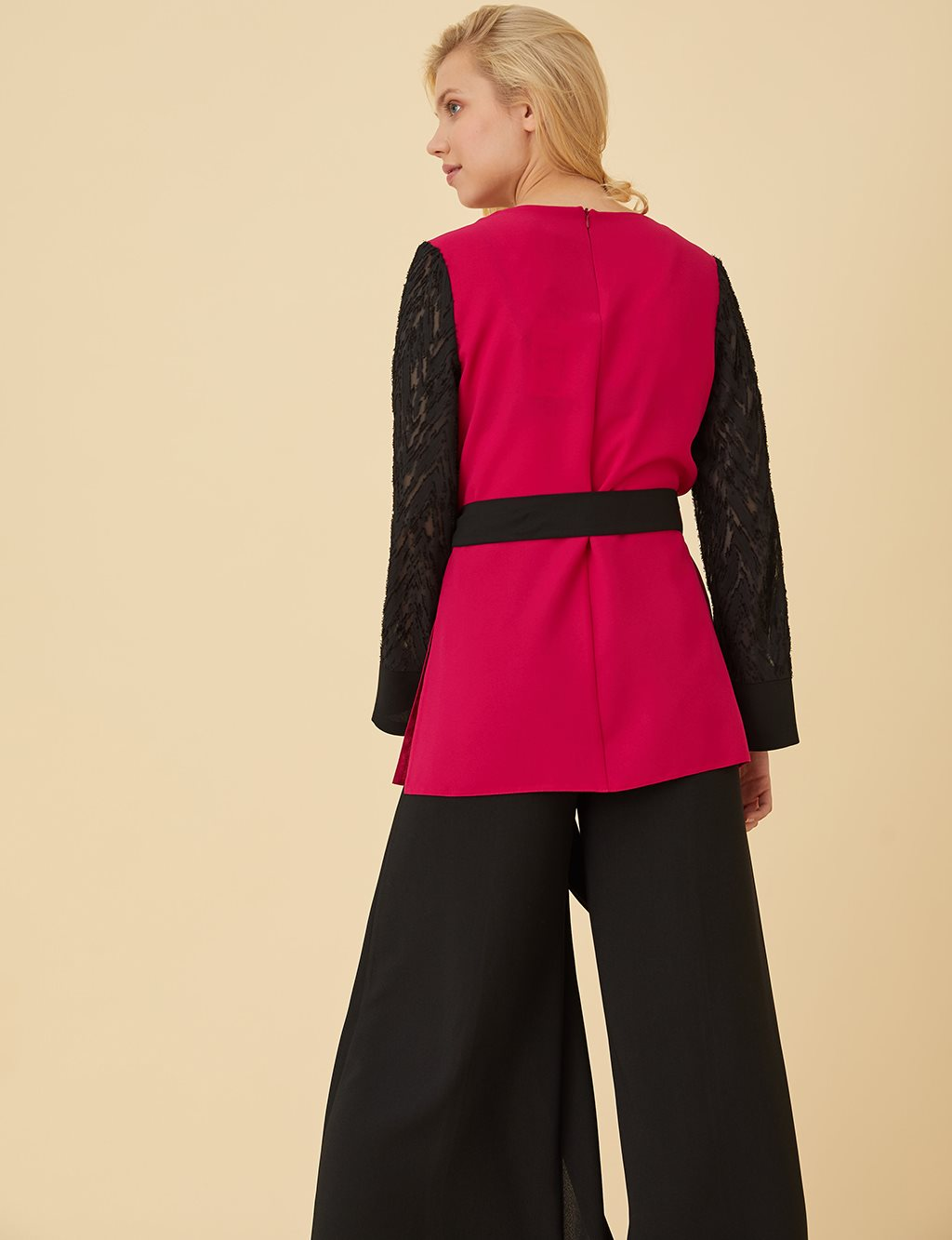 Lace Sleeve Blouse With Guipure B9-10154 Fuchsia