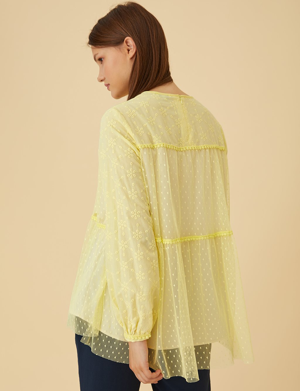 Chiffon Detailed Tunic B9-21373 Yellow