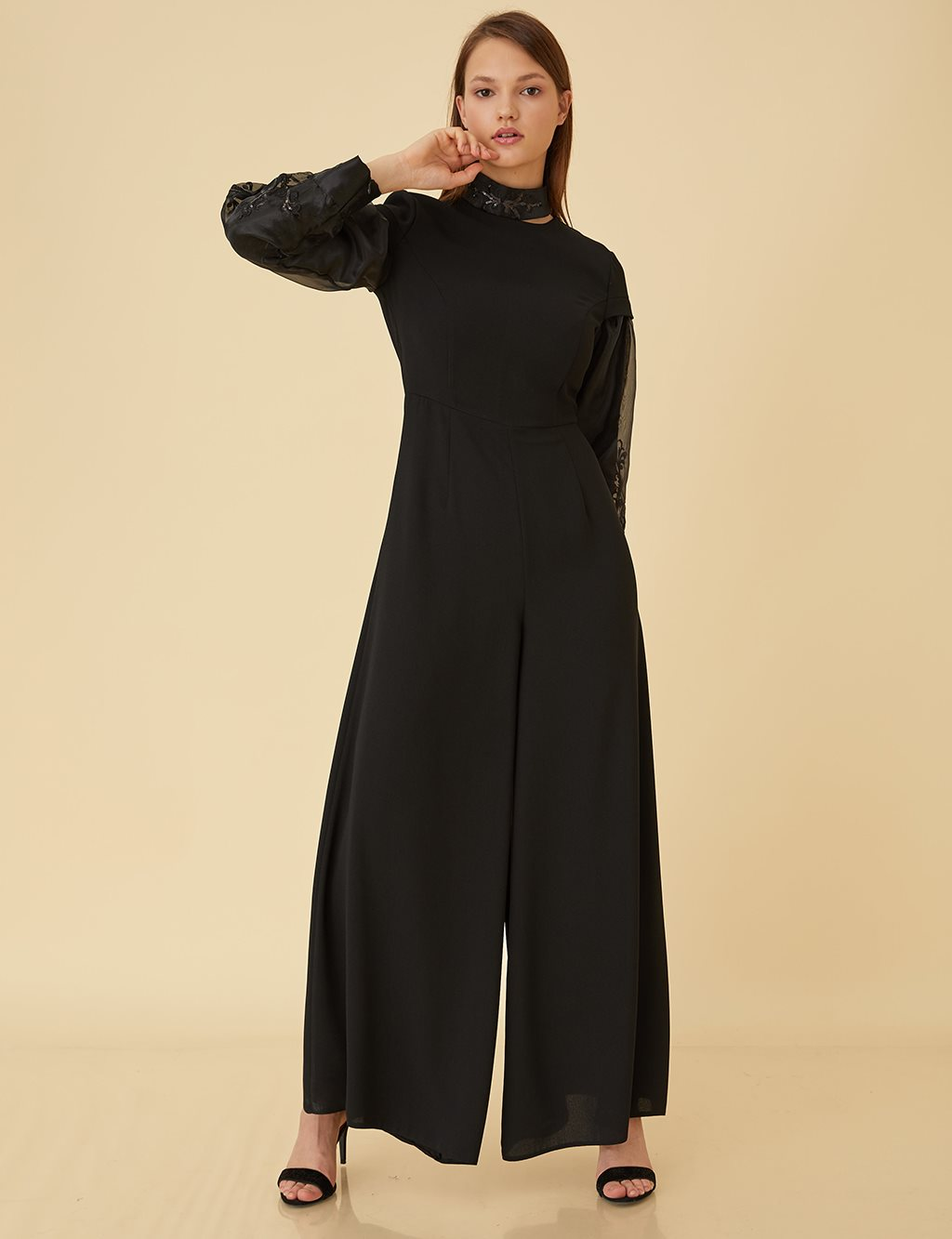 Organza Sleeve Jumpsuit B9 22016 Black