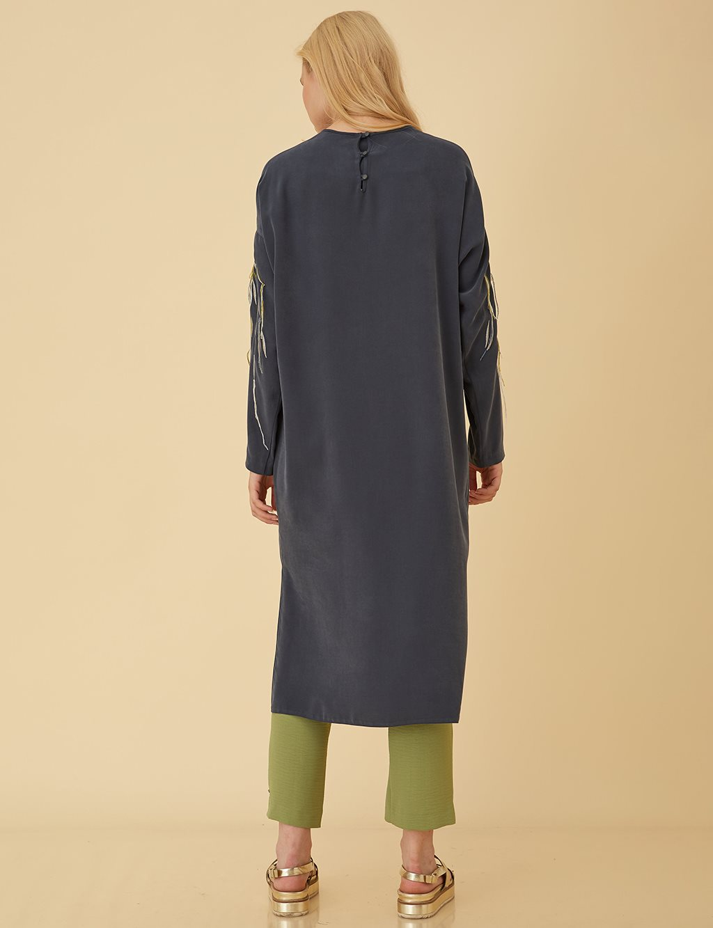 Embroidered Sleeve Tunic B9 21380 Navy