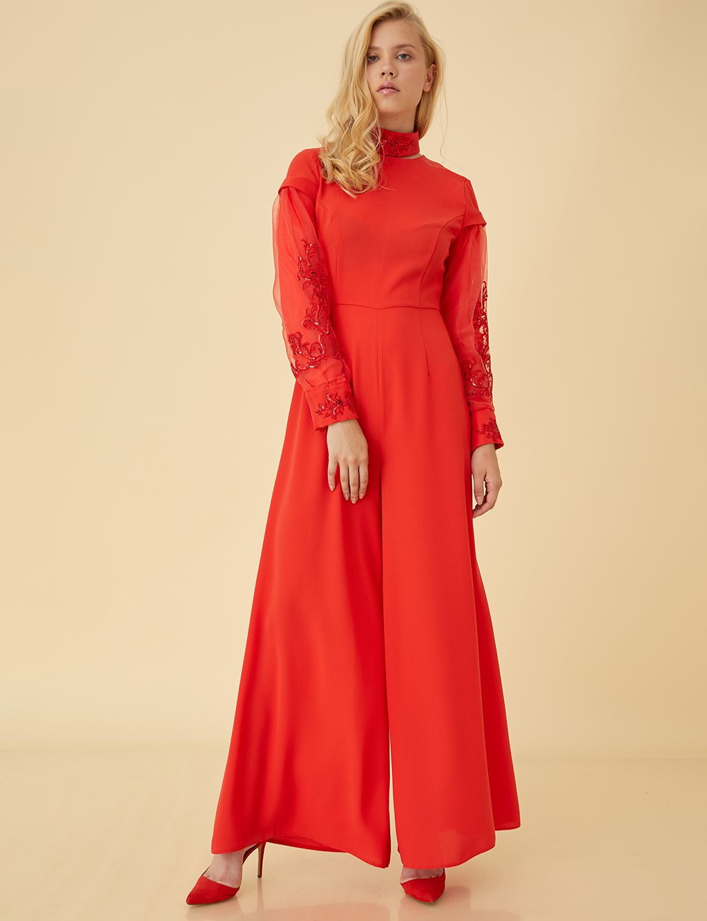 Organza Sleeve Jumpsuit B9 22016 Red