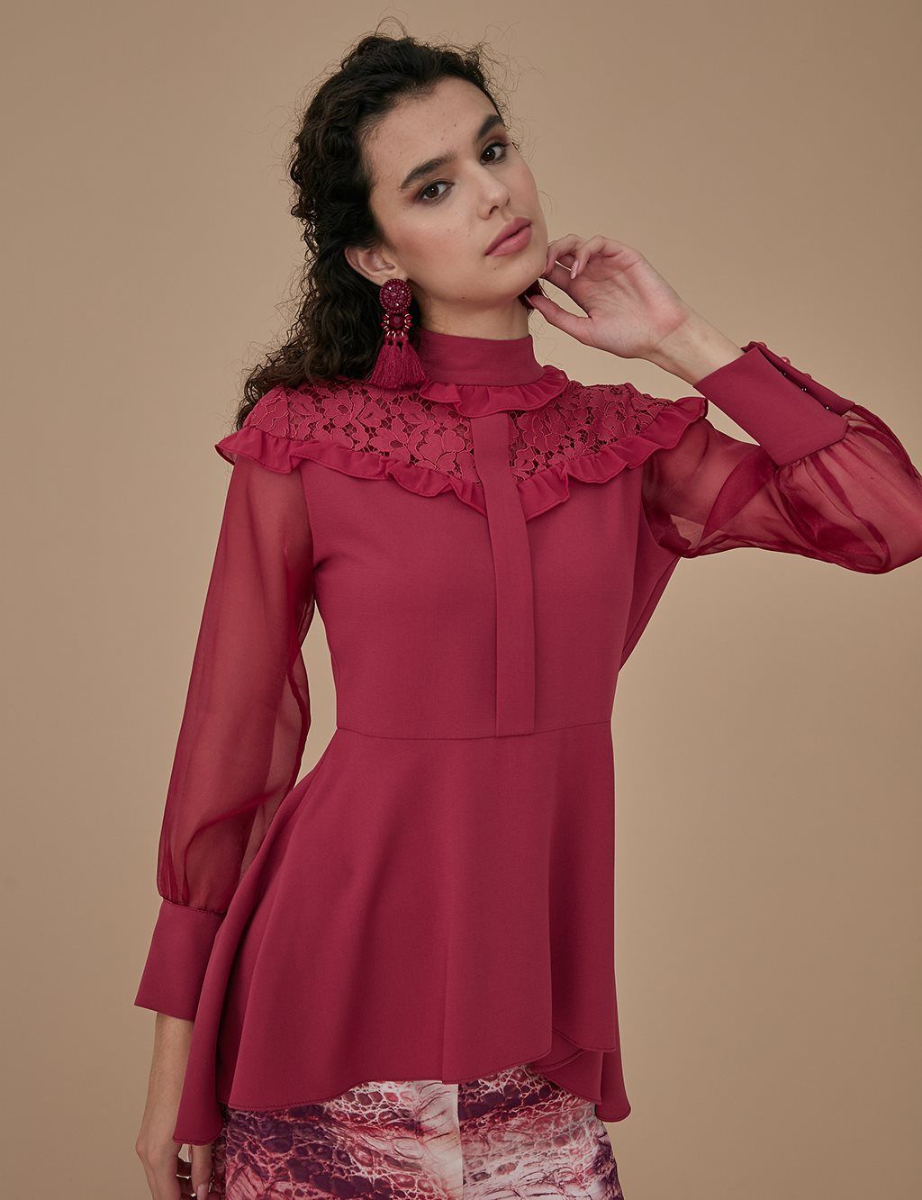 Guipure Blouse A9 10024 Cherry