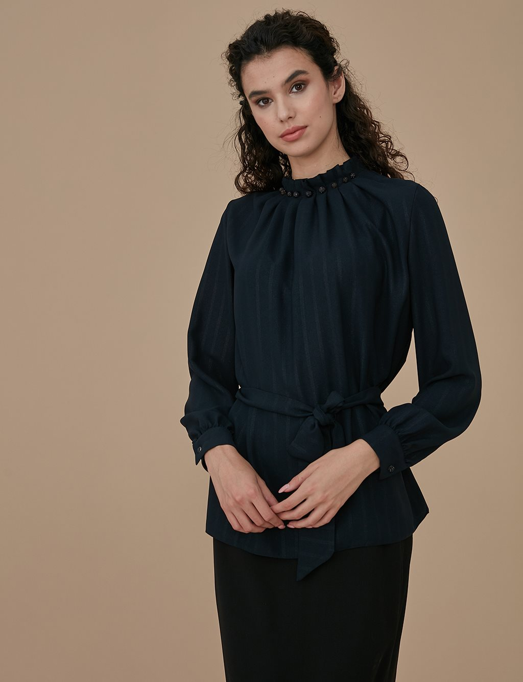 Pleated Collar Blouse A9 10041 Black