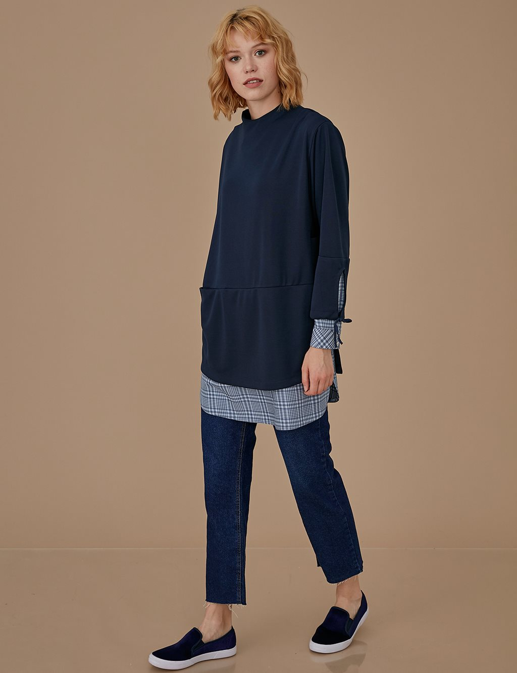 Plaid Tunic A9 21128 Navy