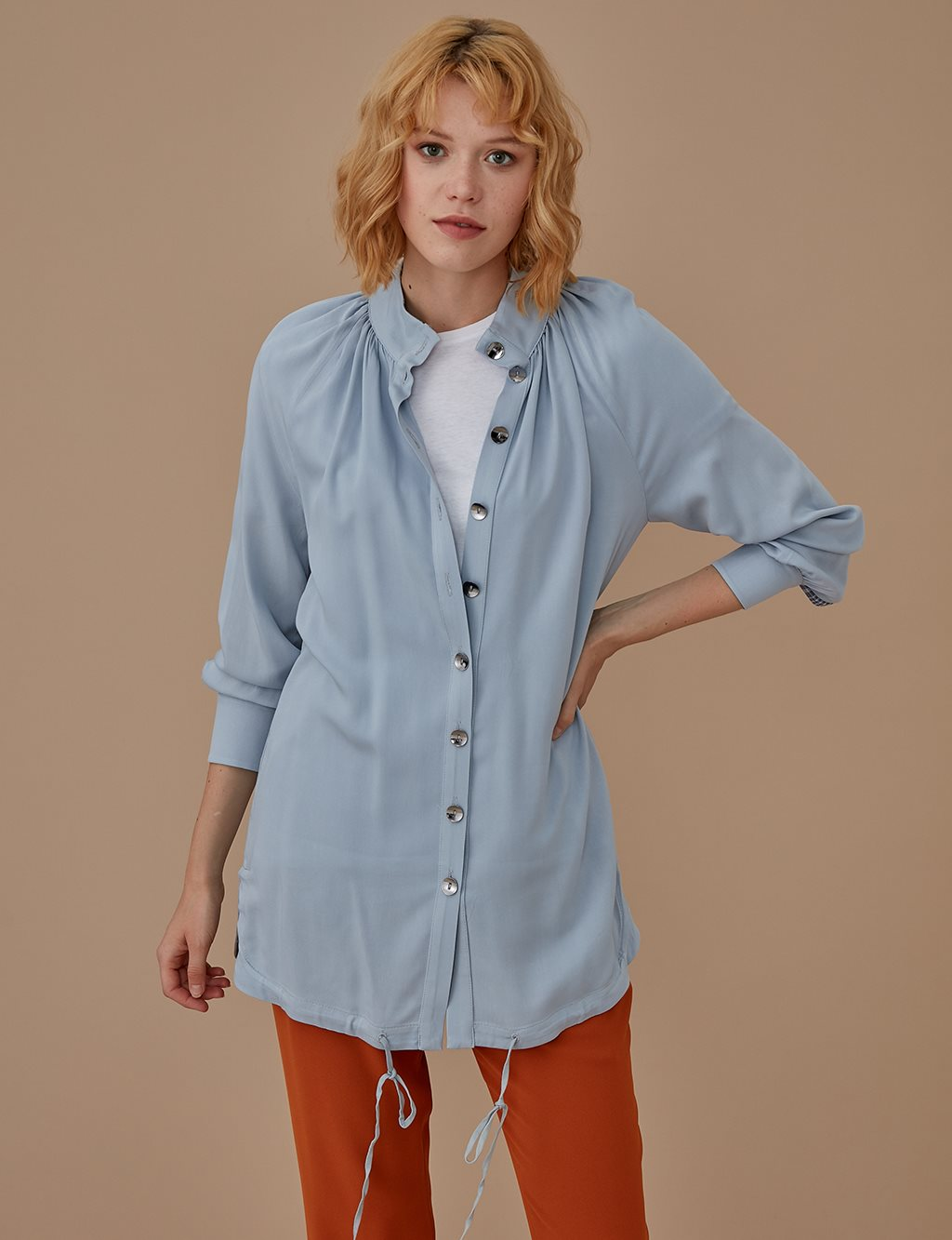 Button Detailed Tunic A9 21154 Blue
