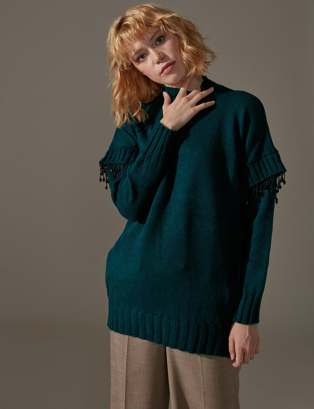 Detailed Knitwear Tunic A9 TRK11 Petrol