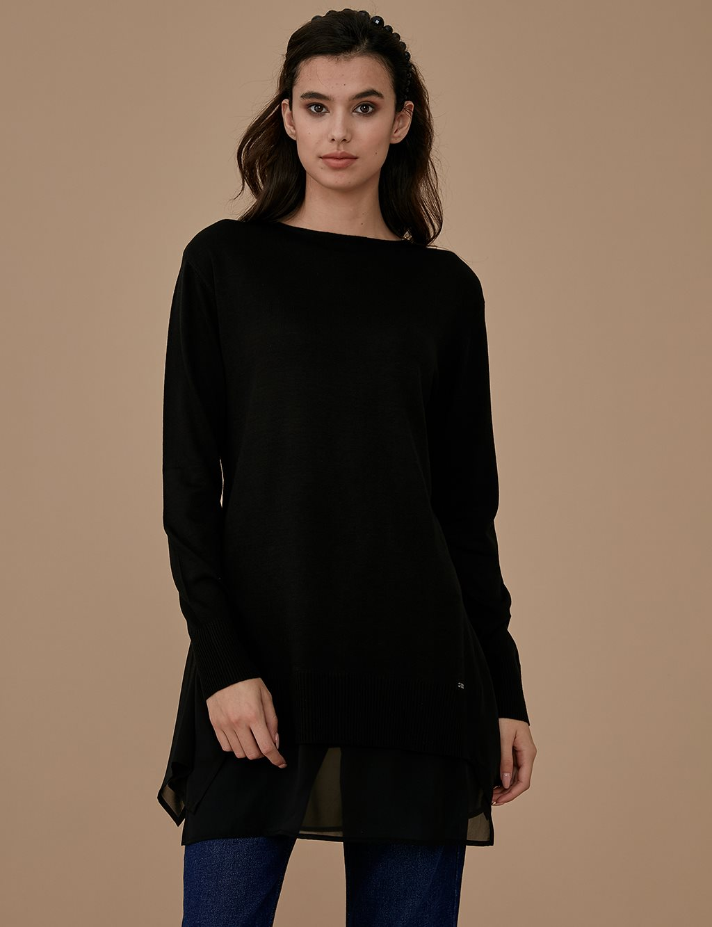 Chiffon Detailed Knitwear Tunic A9 TRK46 Black