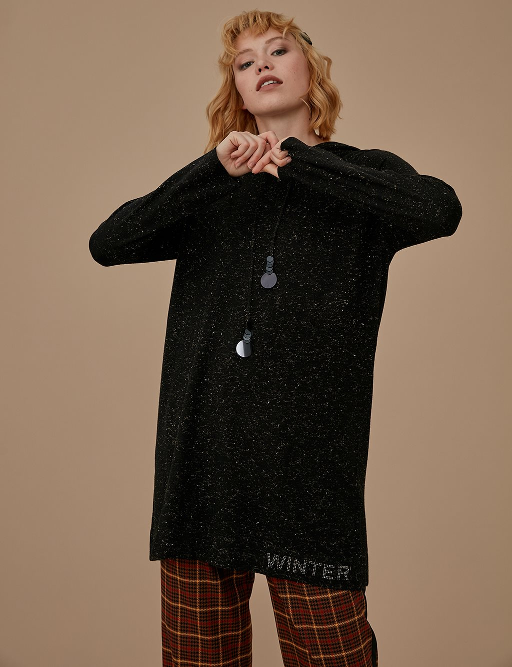 Knitwear Tunic With Hood A9 TRK55 Black