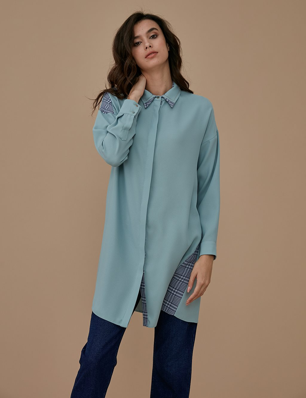 Collar Detailed Tunic A9 21130 Water Green