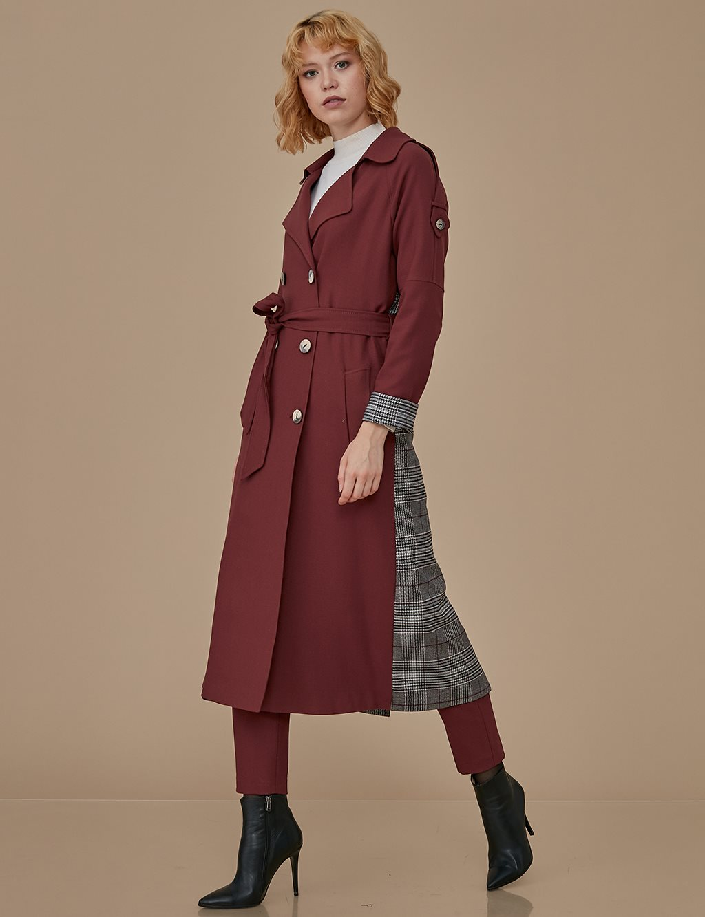 Plaid Detailed Trenchcoat A9 14033 Tile