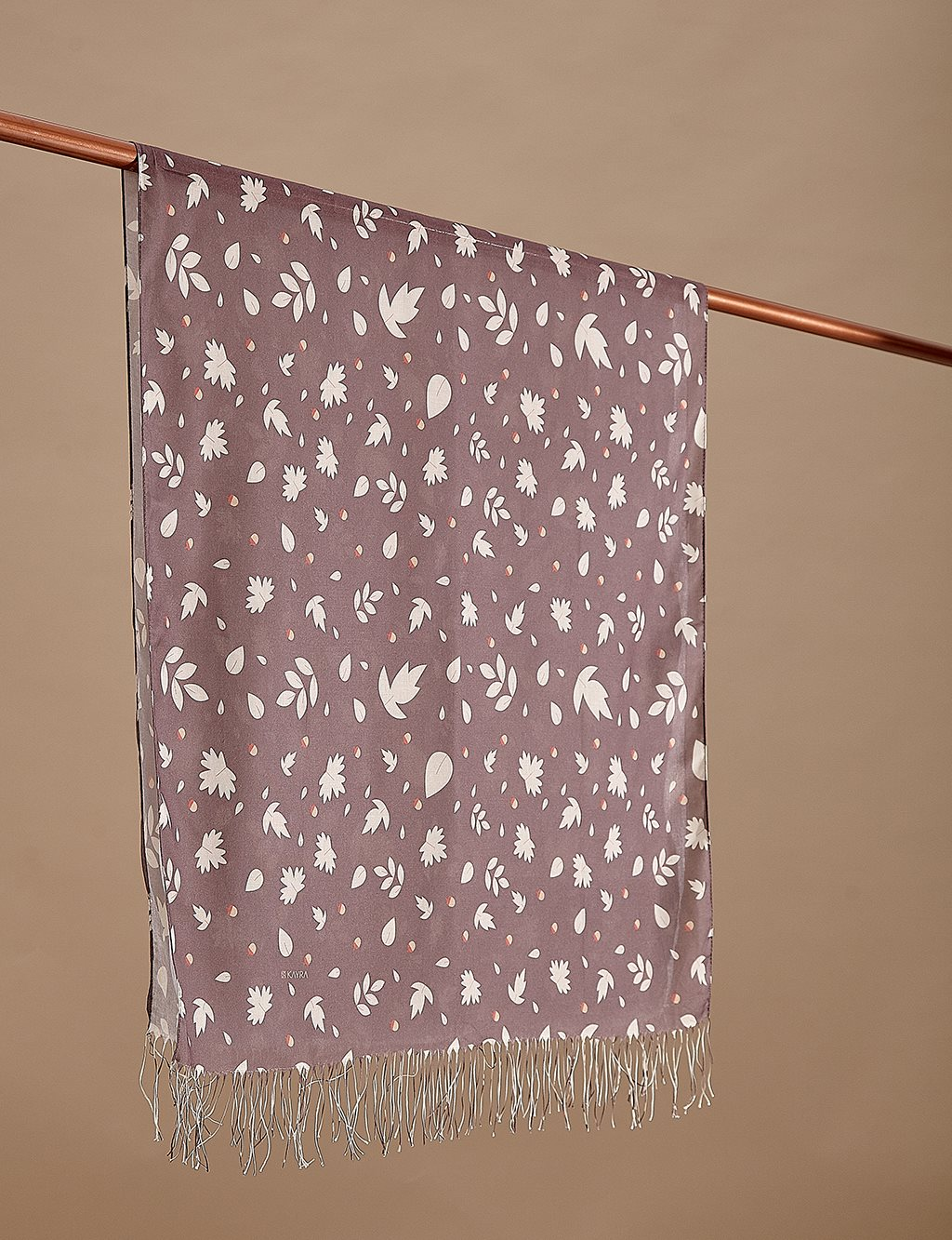 Leaf Patterned Cotton Shawl A9 SAL09 Brown