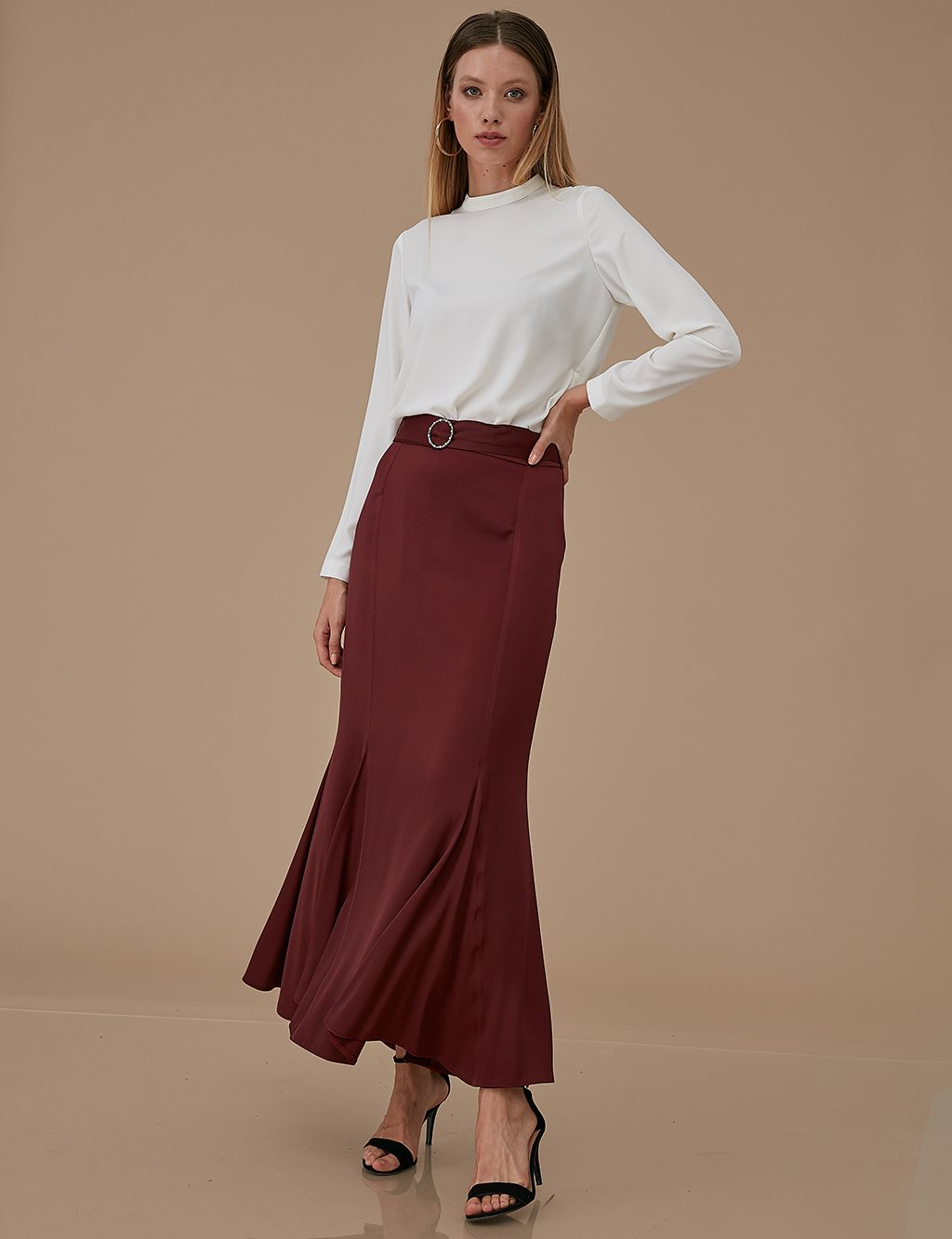 Sateen Skirt A9 12042 Burgundy