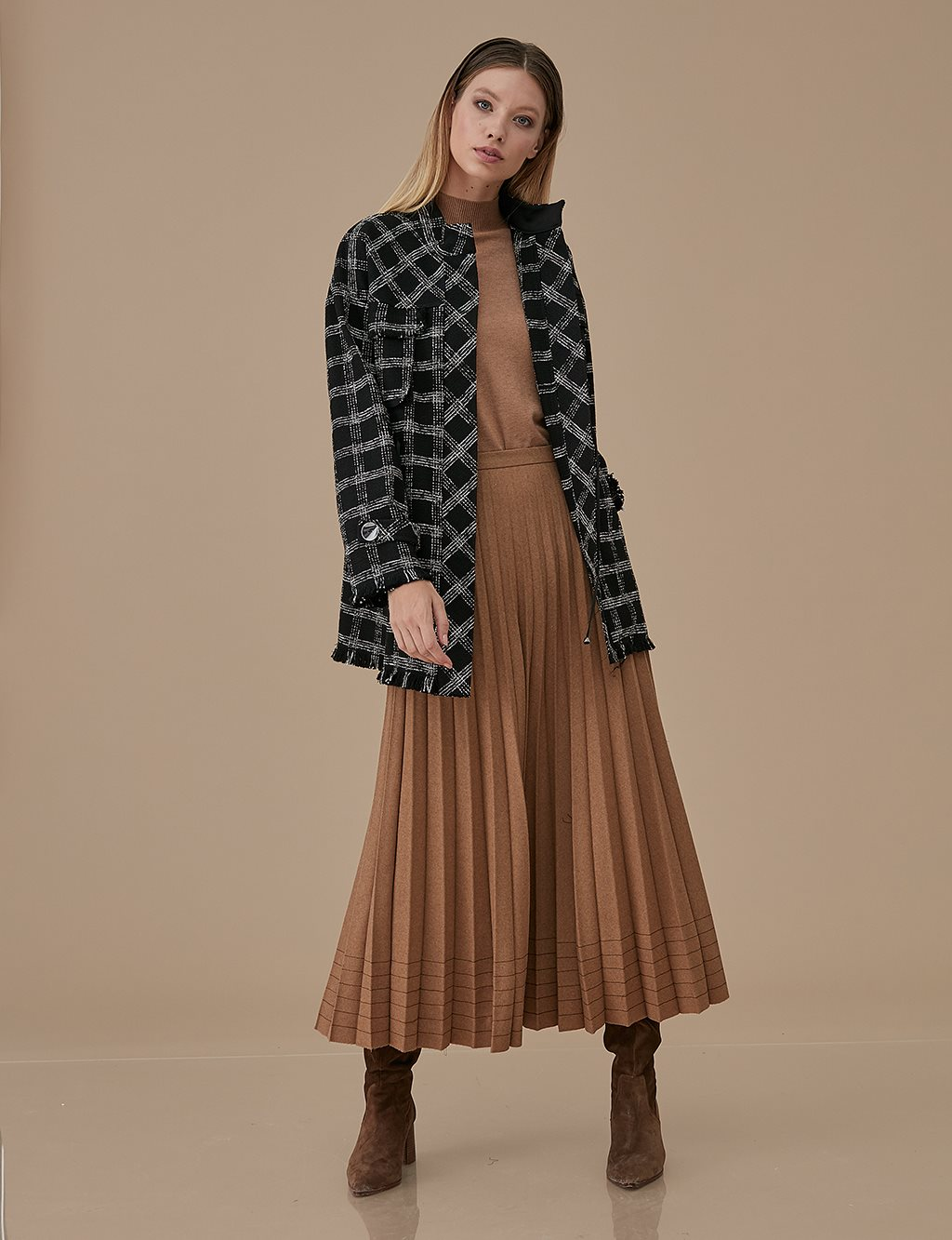 Plaid Tweed Jacket A9 13065 Black