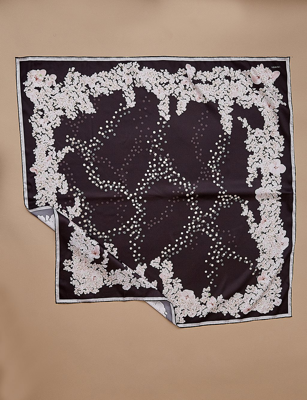 Floral Patterned Pes Scarf A9 ESP80 Black