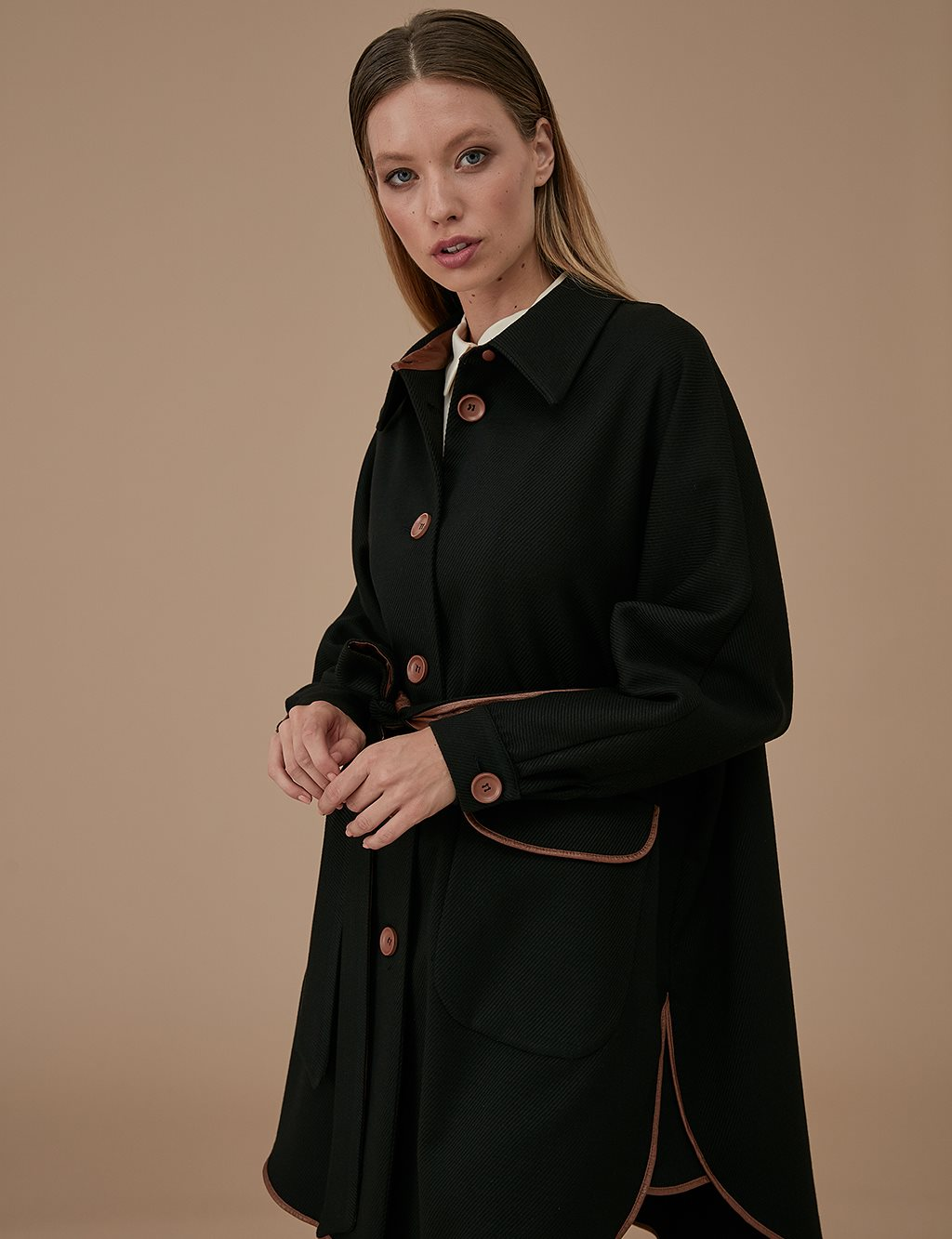 Sleeve Detailed Poncho/Coat A9 17032 Black