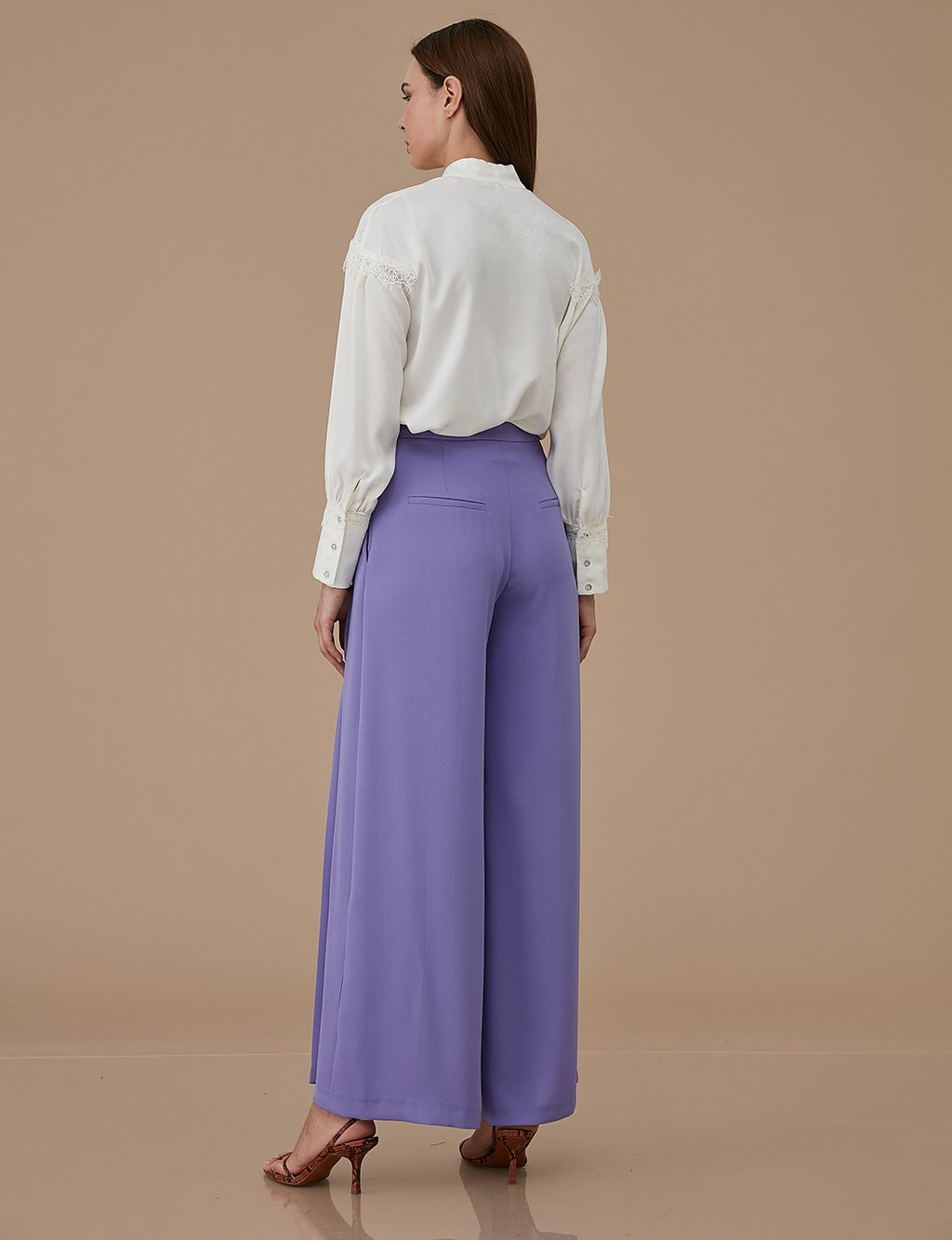 Wide Leg Pleated Pants A9 19083 Lilac