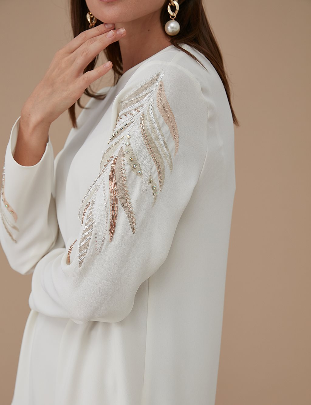 Embroidered and Beaded Tunic A9 21177 Ecru