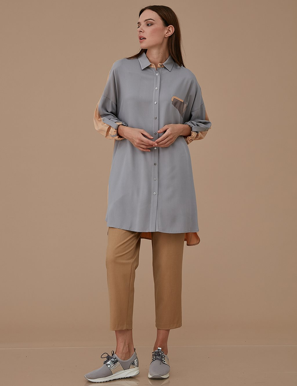 Colorful Oversize Tunic A9 21193 Grey
