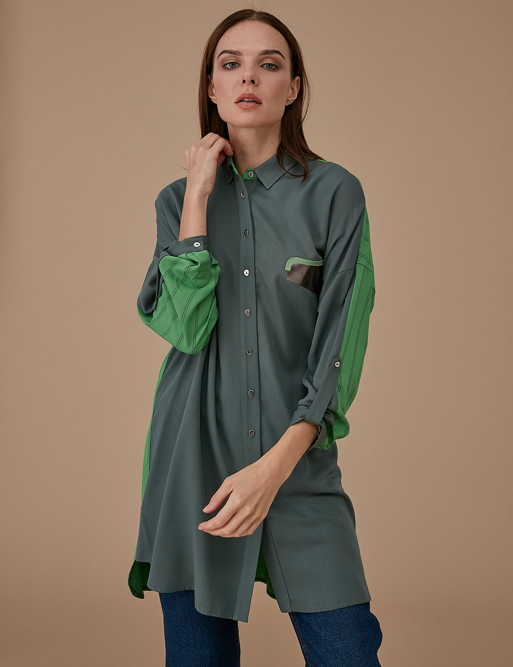 Colorful Oversize Tunic A9 21193 Green