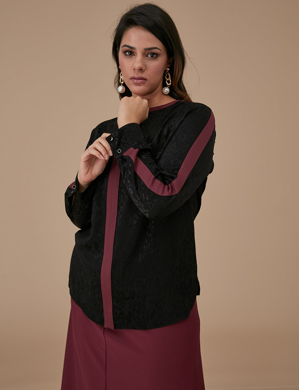 Jacquard Blouse A9 10031 Black