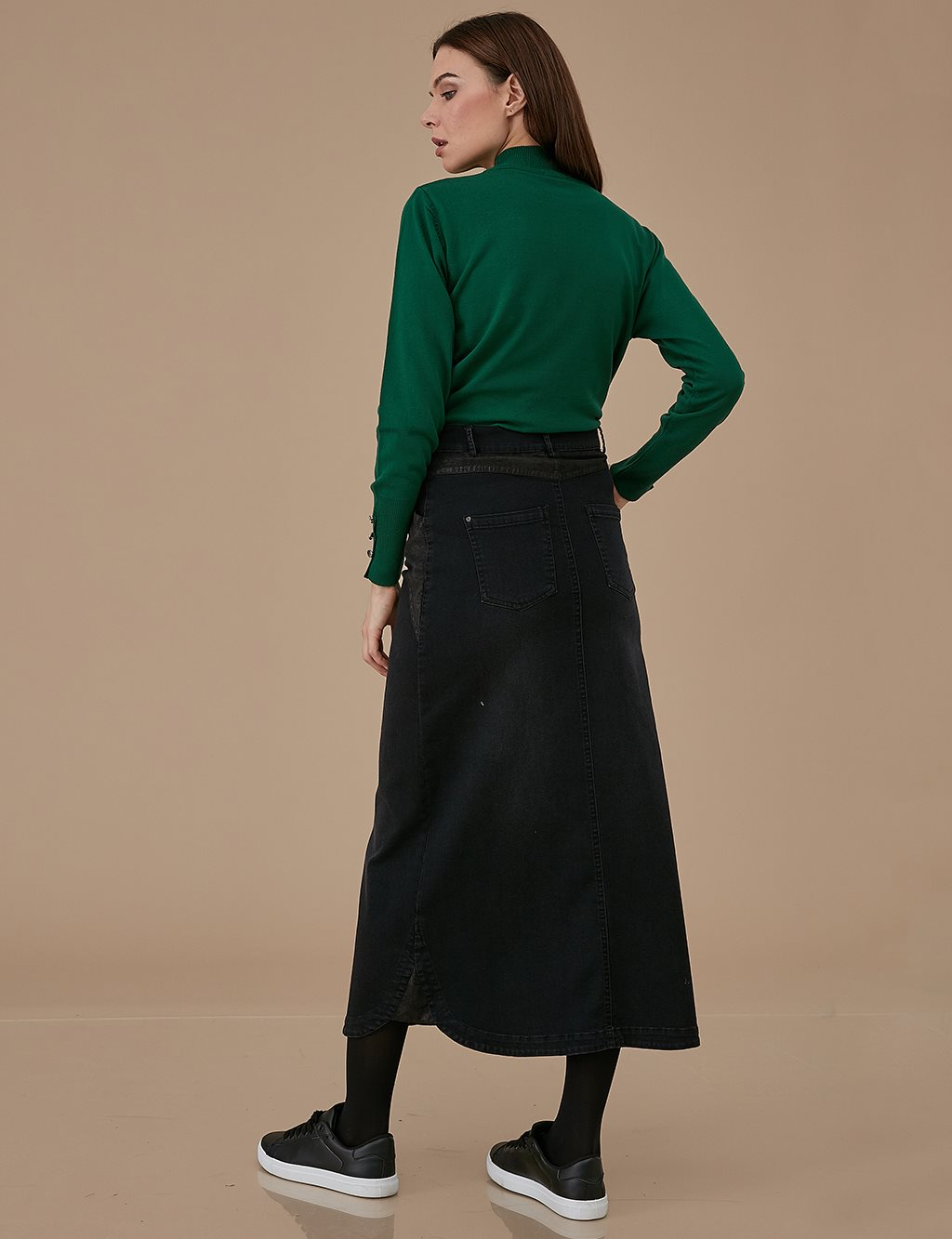 Detailed Denim Skirt A9 12014 Black