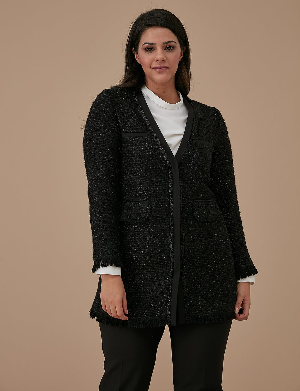 Oversize Tweed Jacket A9 13050 Black