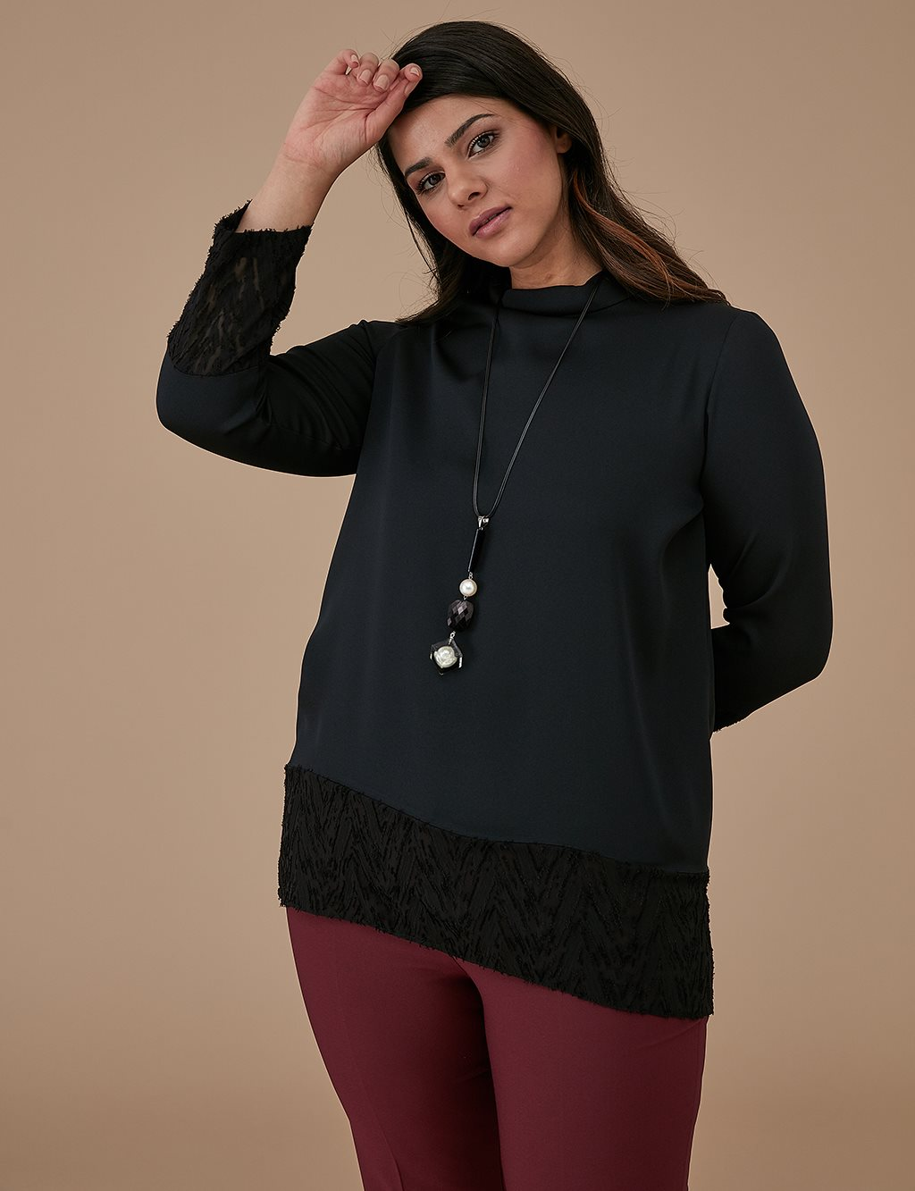 Blouse With Necklace A9 10032 Black