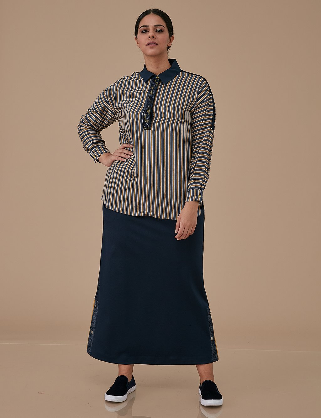 Striped Blouse With Sequin Detail A9 10036 Navy