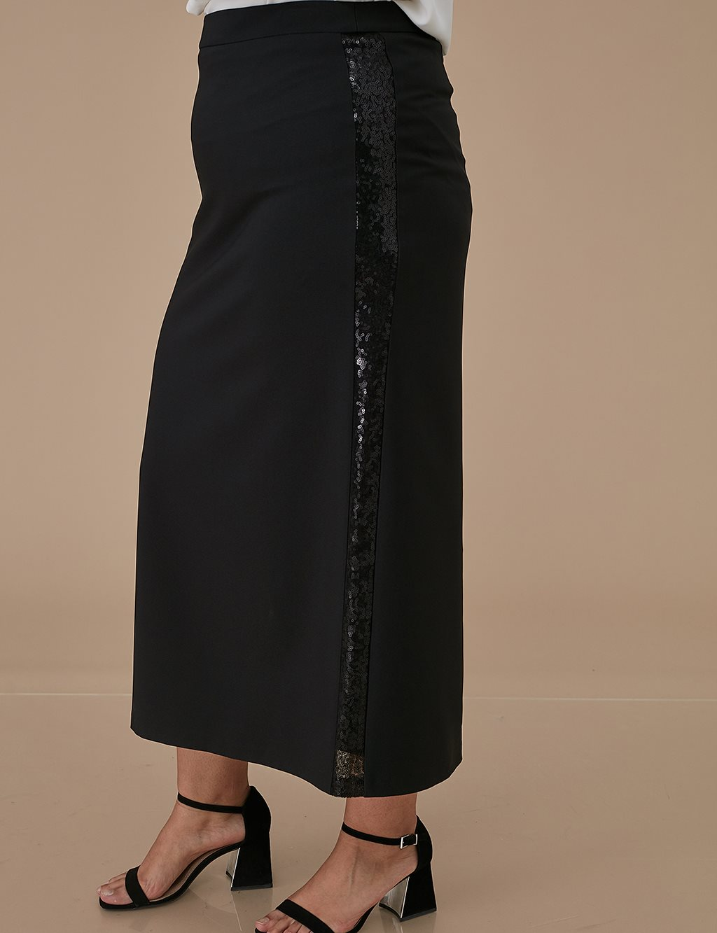 Skirt With Sequin Detailed A9 12041 Black
