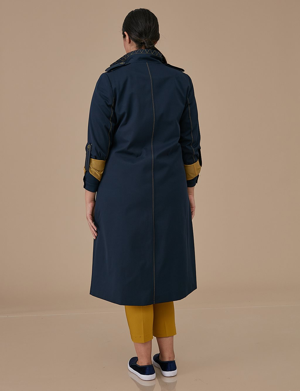 Oversize Raincoat With Zipper A9 14042 Navy