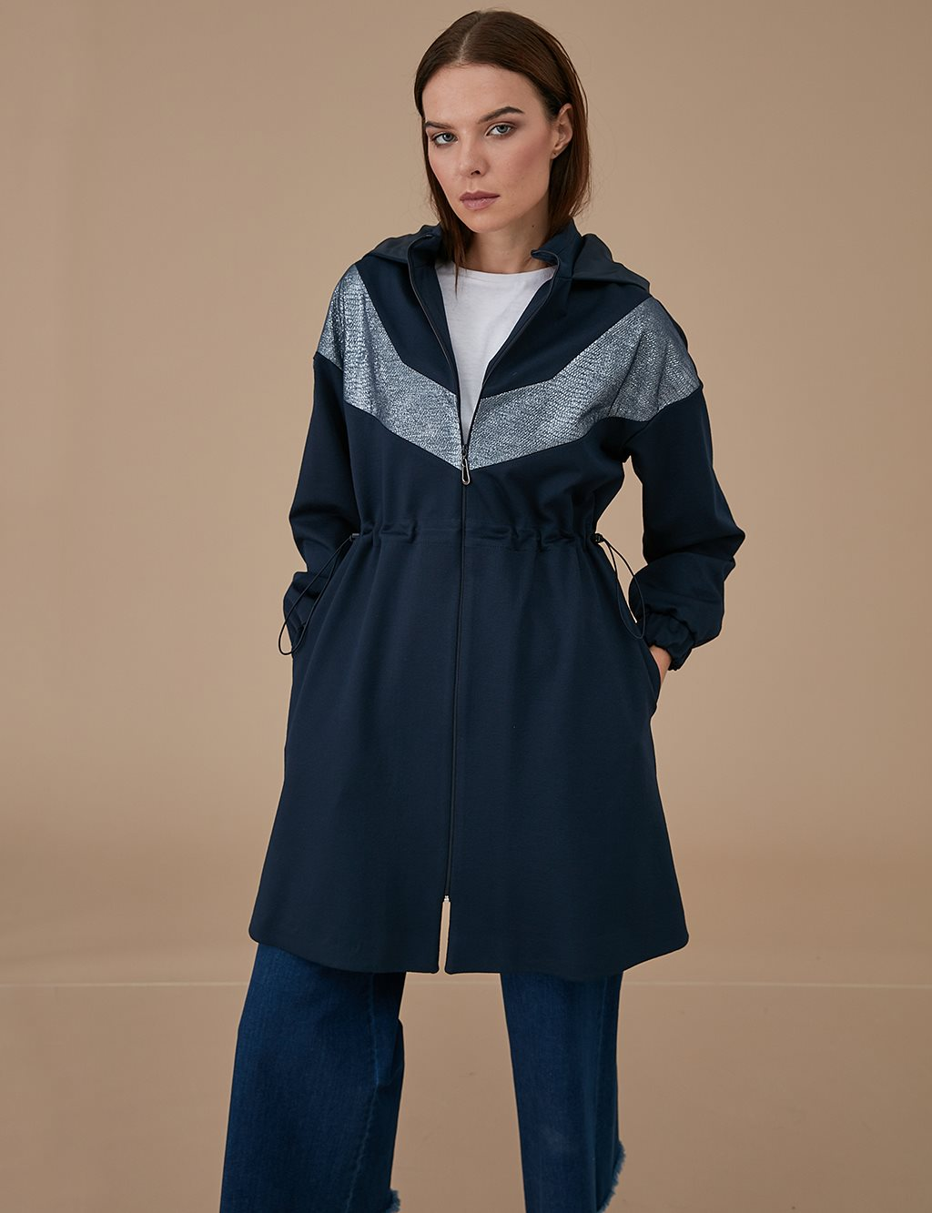 Coat With Zipper A9 14053 Navy