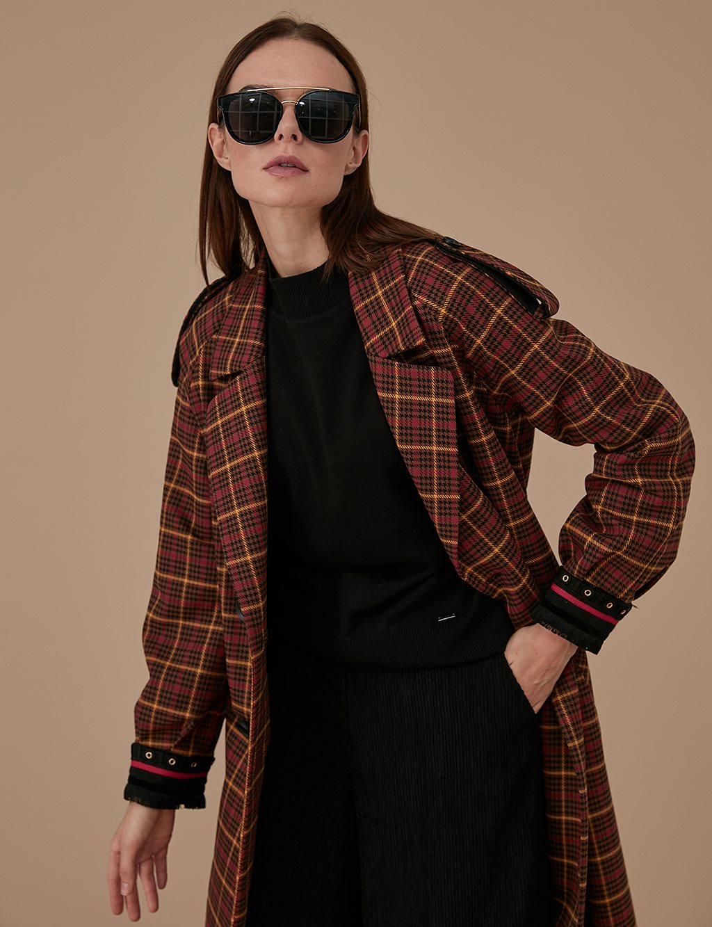 Checkered Trenchcoat A9 14056 Brown