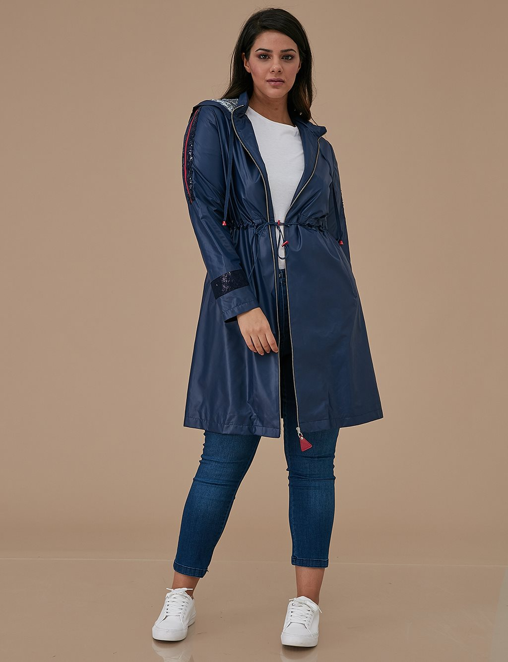 Ruched Coat A9 14057 Navy
