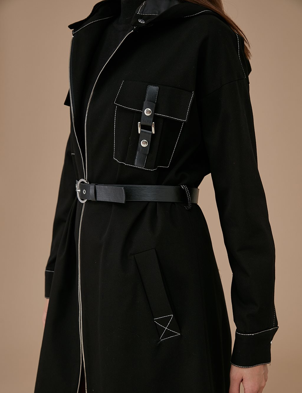 Trenchcoat With Leather Belt A9 14050 Black