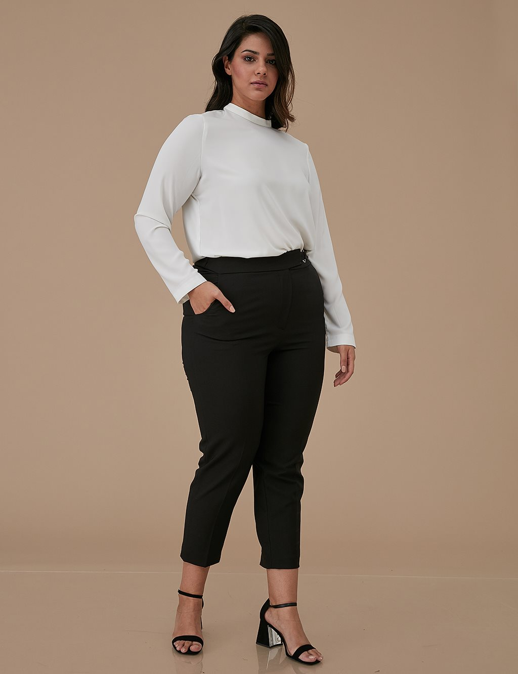 Detailed Skinny Leg Oversize Pants A9 19046 Black