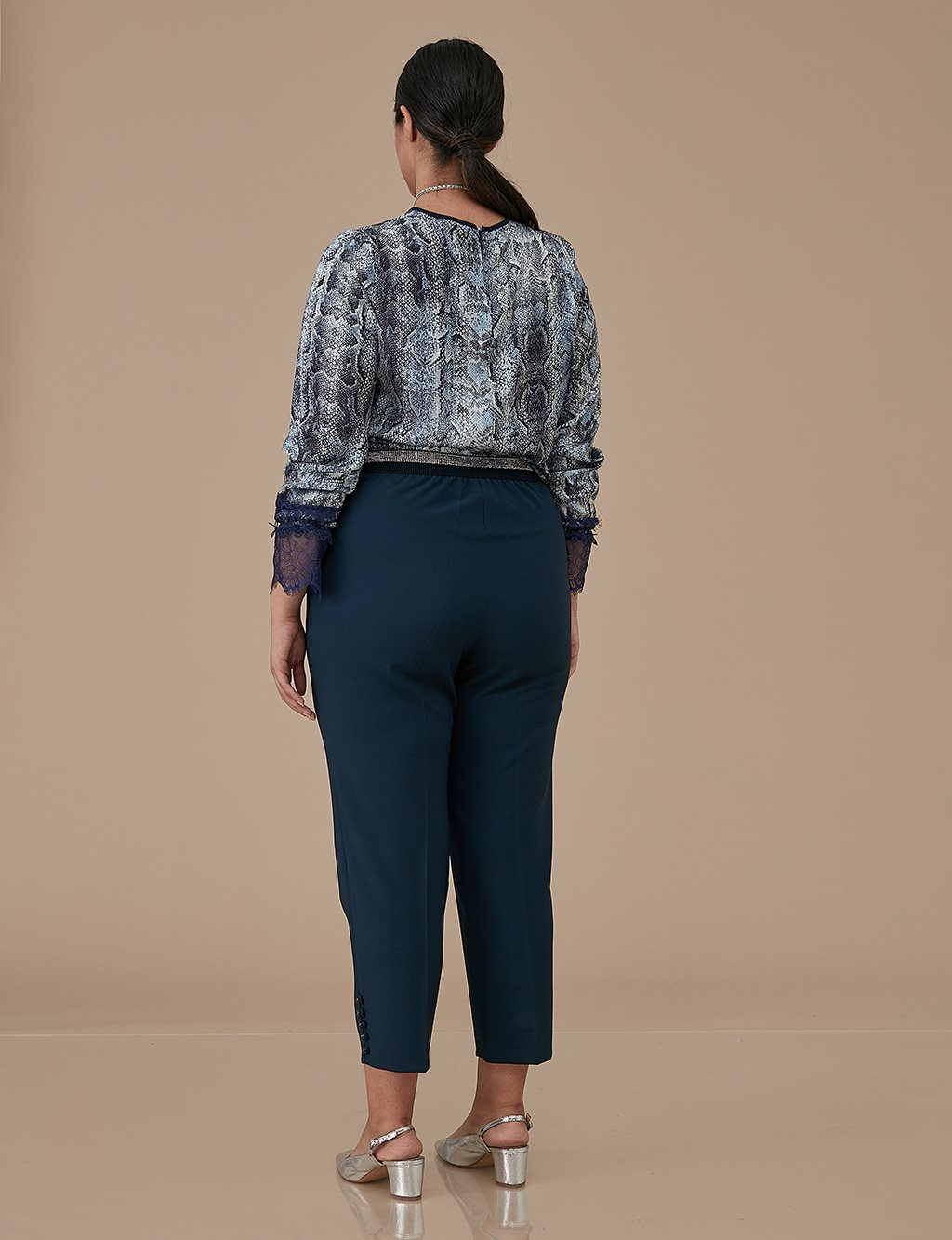 Button Detailed Oversize Pants A9 19086 Navy