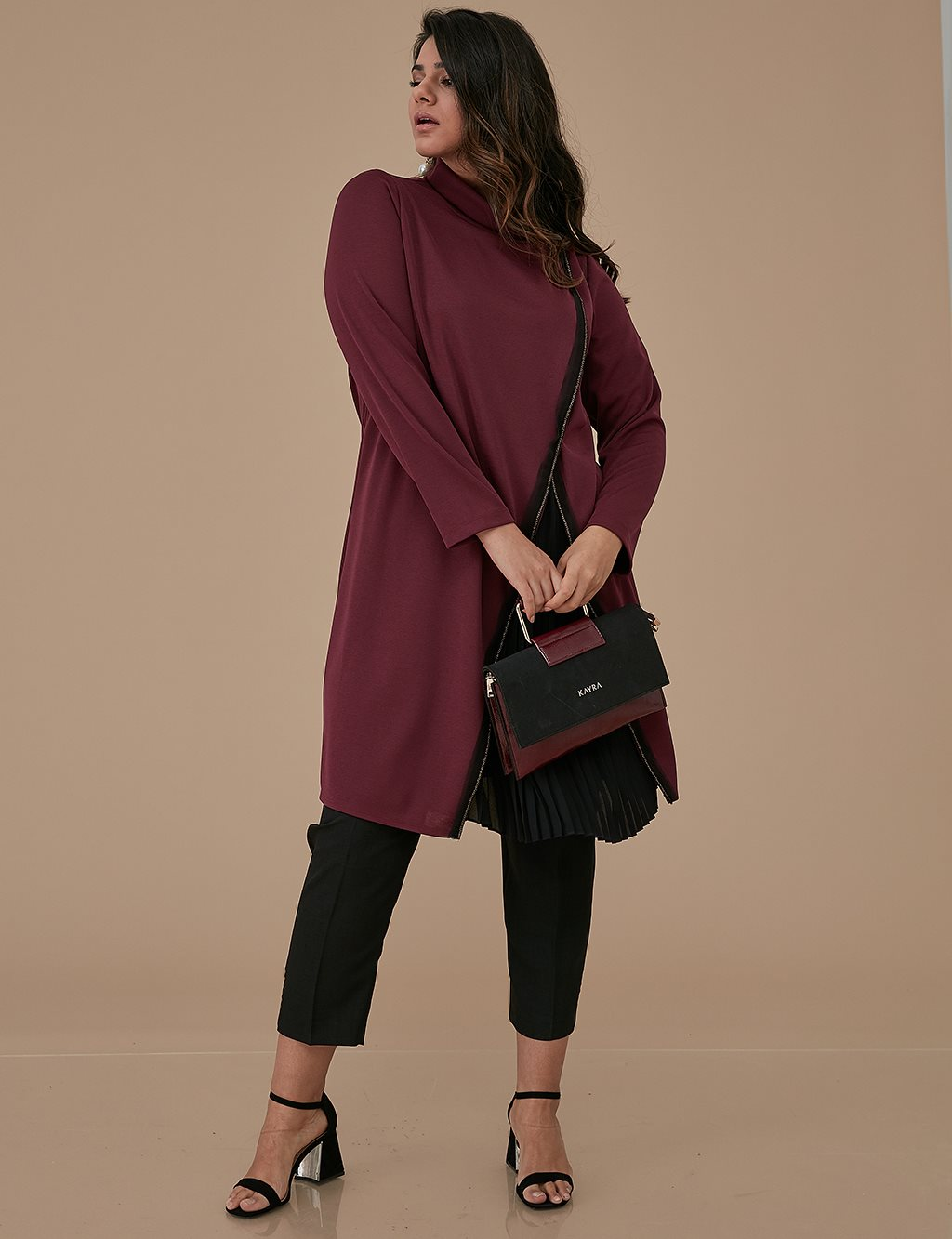 Chiffon Pleated Tunic A9 21108 Burgundy