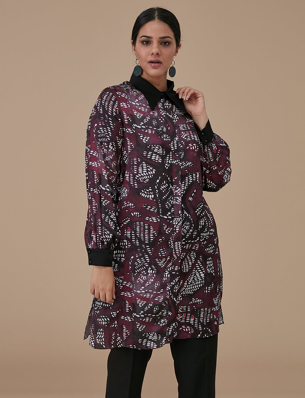 Patterned Tunic A9 21127 Burgundy