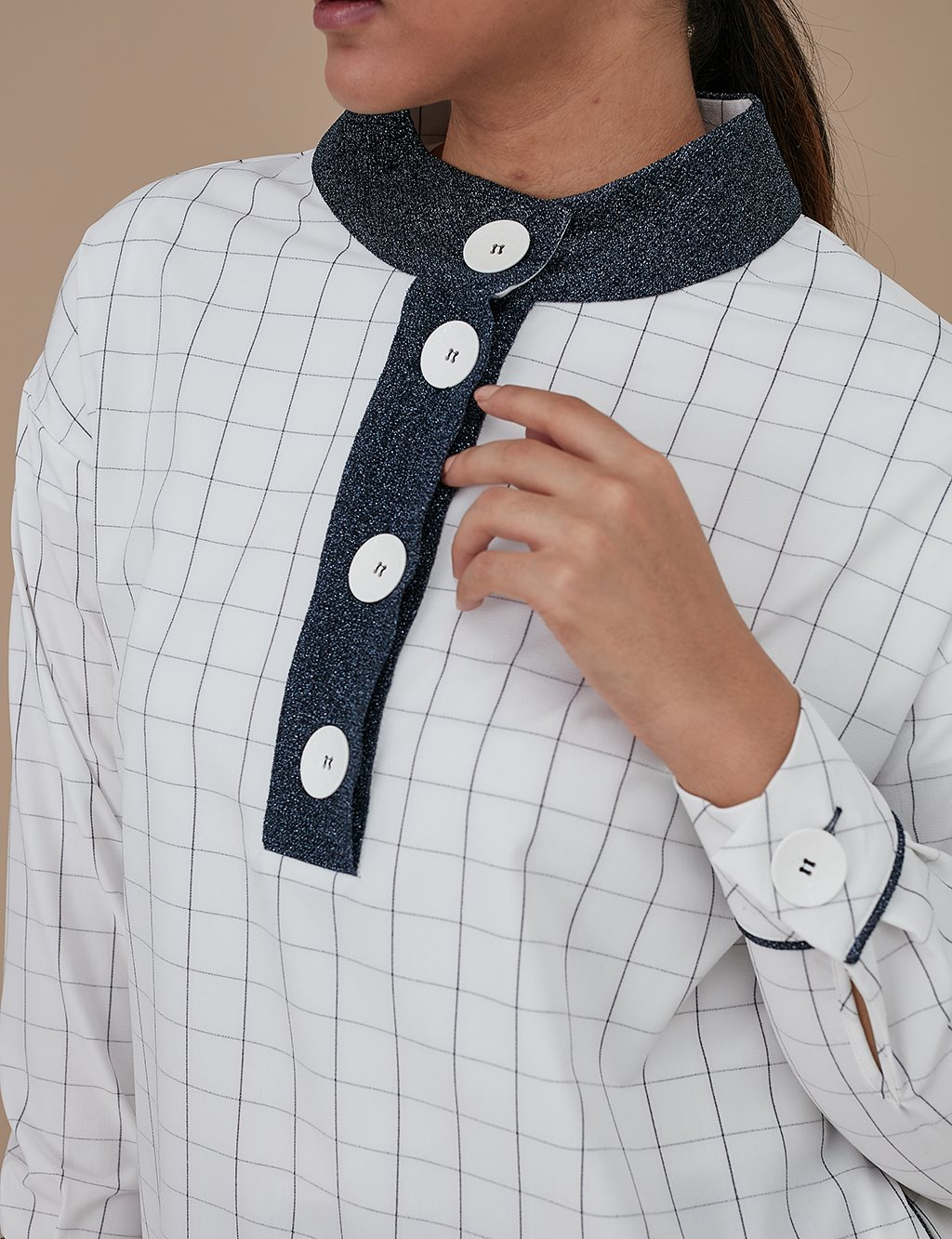 Grandad Collar Checkered Tunic A9 21129 Ecru