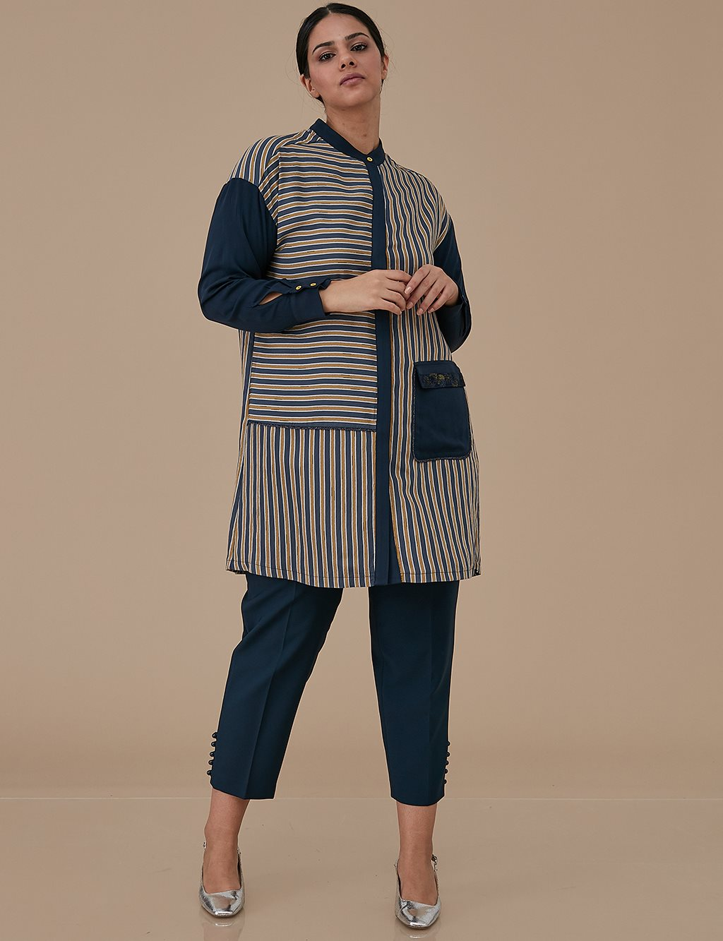 Striped Tunic With Sequin A9 21181 Navy