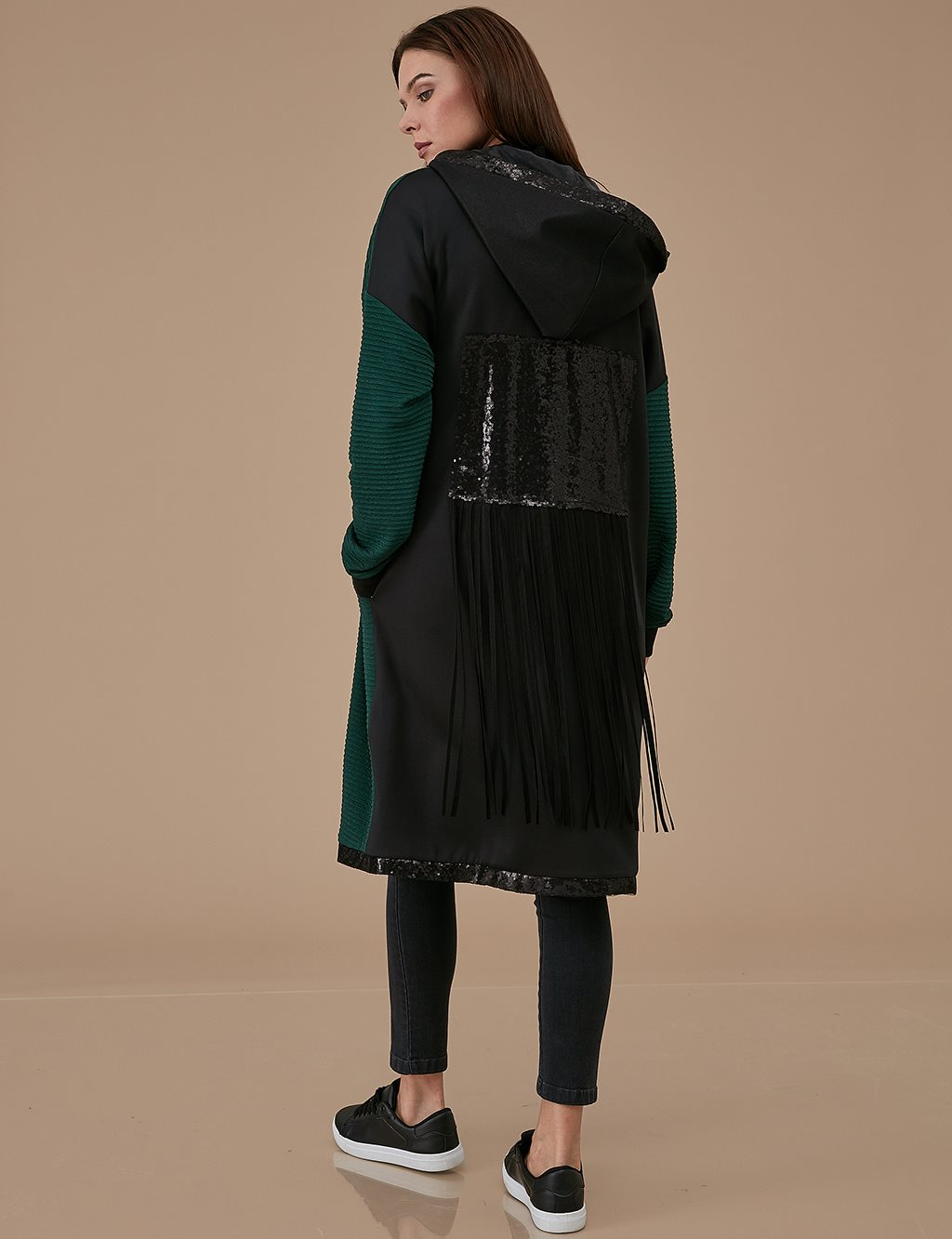 Coat With Sequin A9 25015 Green