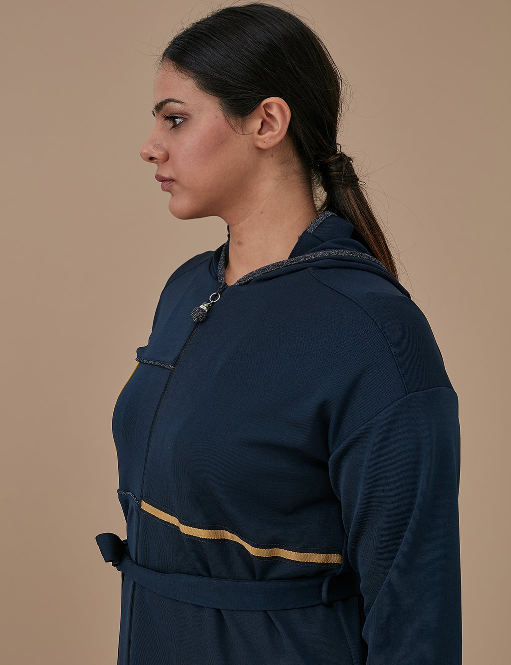 Top With Belt And Hood A9 25038 Navy
