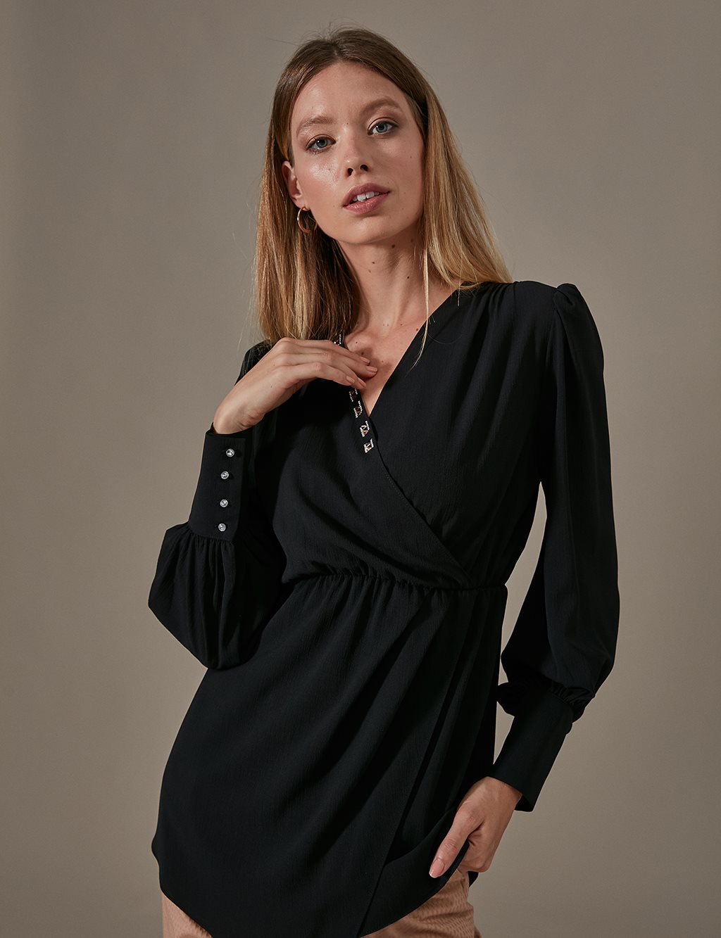 KYR Envelop Collar Tunic A9 81037 Black
