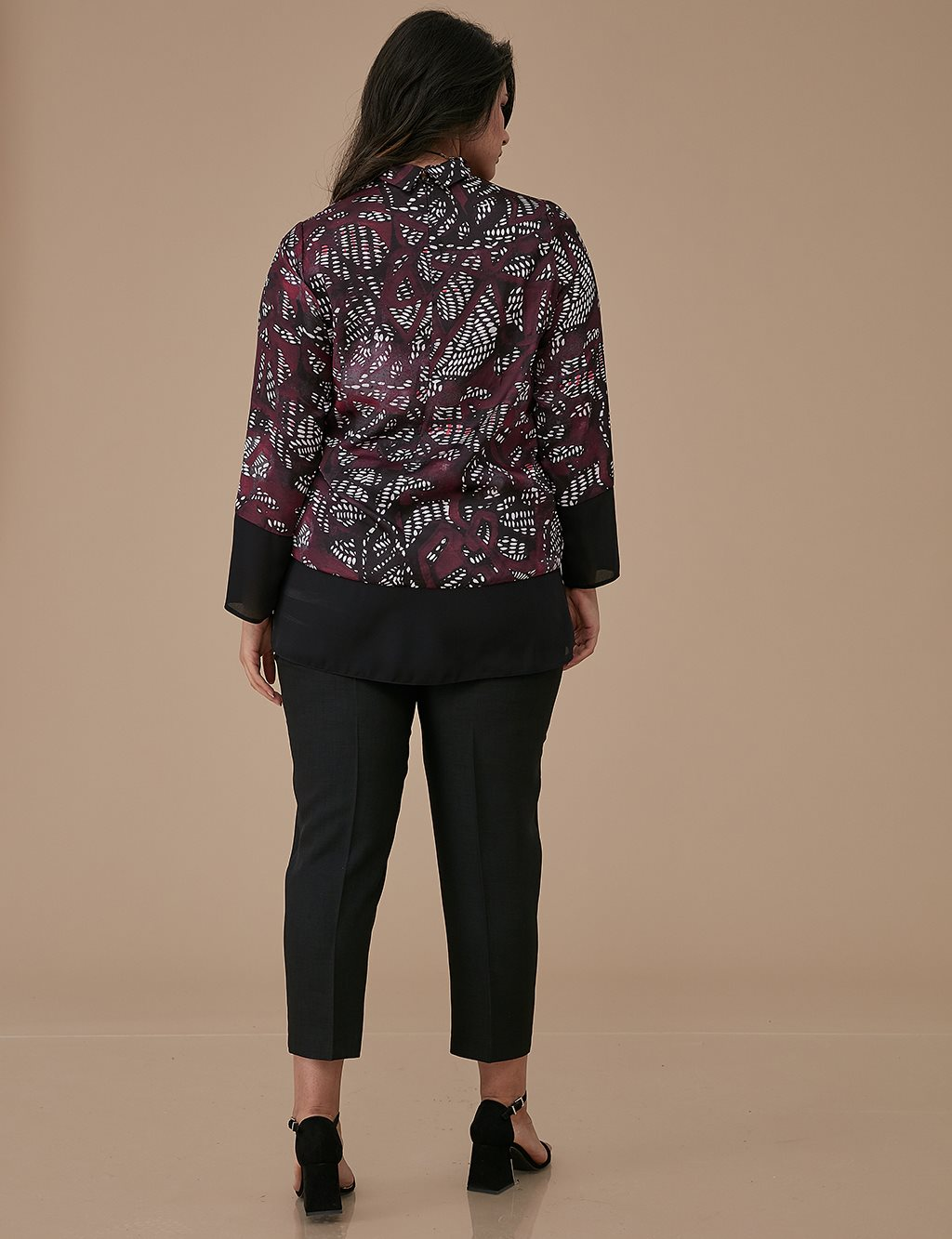 Patterned Blouse A9 10053 Burgundy