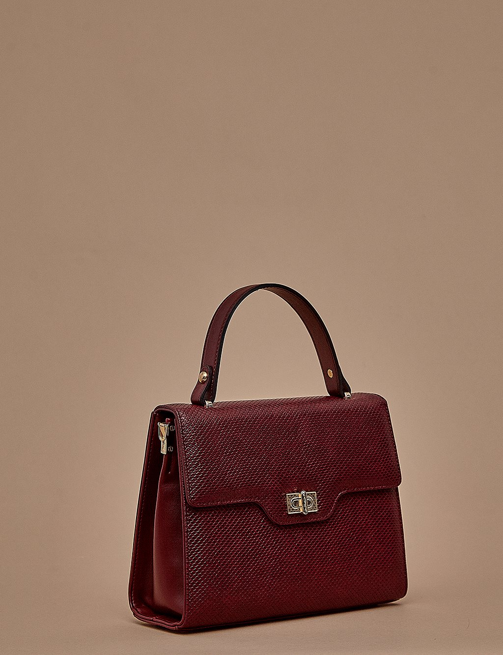 Metallic Handbag A9 CNT15 Burgundy