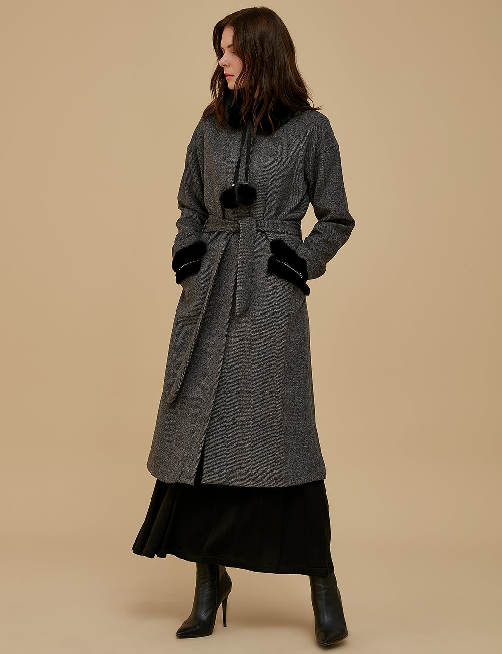 Coat With Pocket Detail A9 17015 Smoke