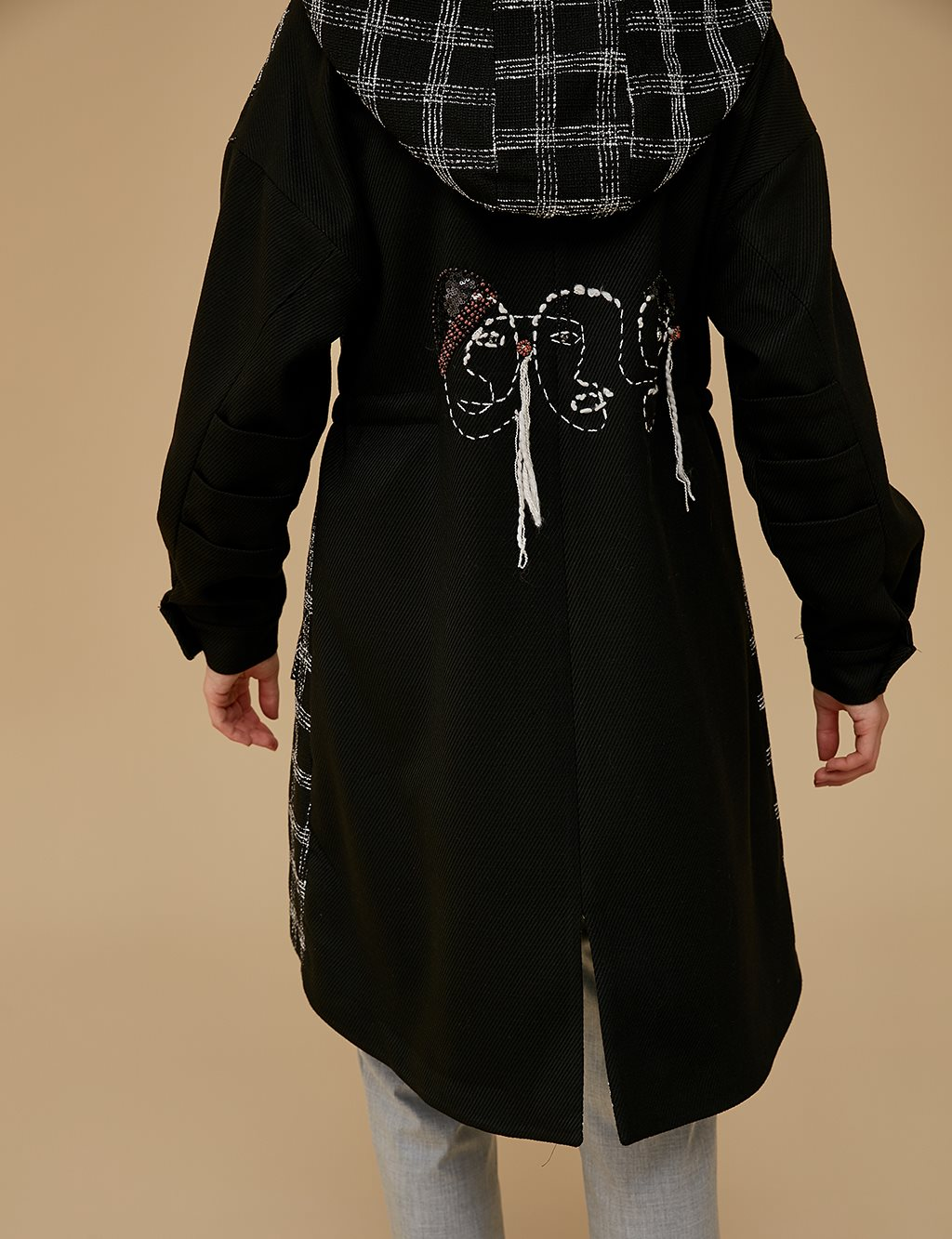 Embroidered Coat A9 17027 Black