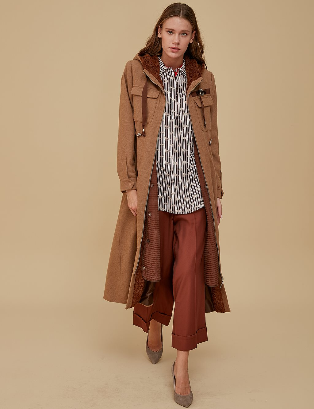 Coat With Vest A9 17083 Beige